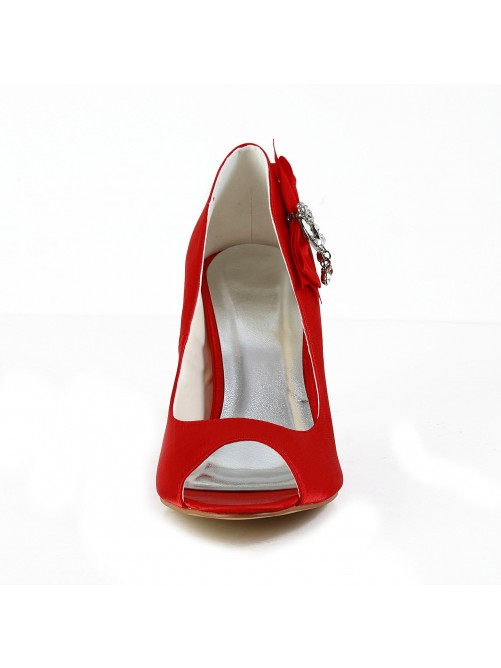 Satin Peep Toe Shoes With Bowknot