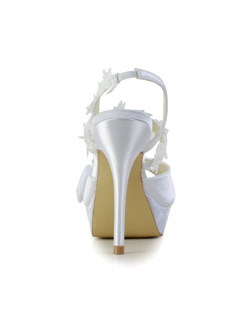 Satin Peep Toe Stiletto Heel Shoes With Bowknot
