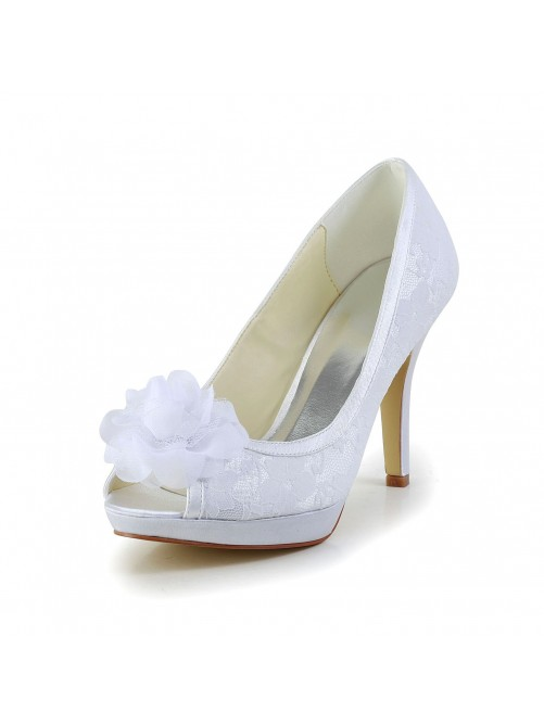 Satin Peep Toe Stiletto Heel Shoes With Flower