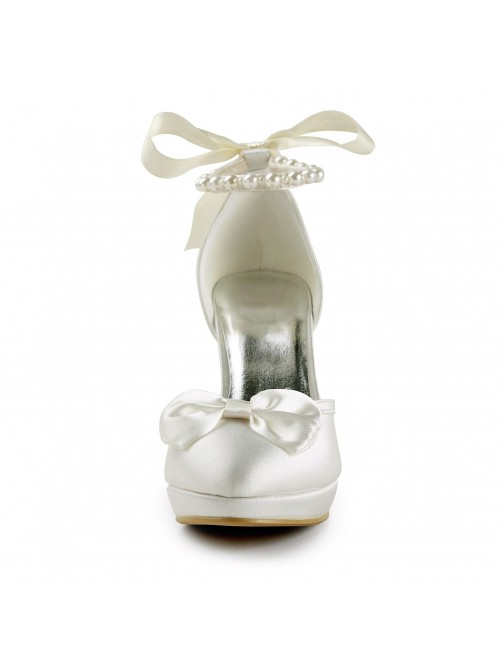Satin Spool Heel Closed Toe Platform Pumps Wedding Shoes With Bowknot Imitation Pearl Ribbon Tie