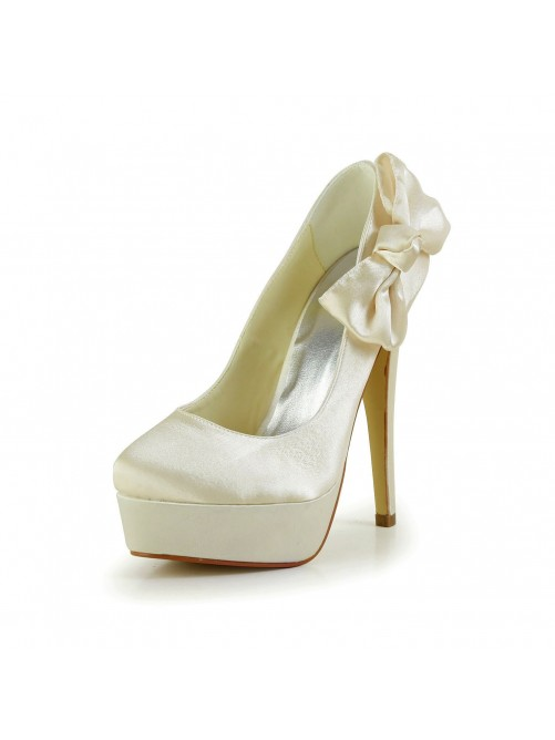 Satin Stiletto Heel Closed Toe Platform Pumps Wedding Shoes With Bowknot