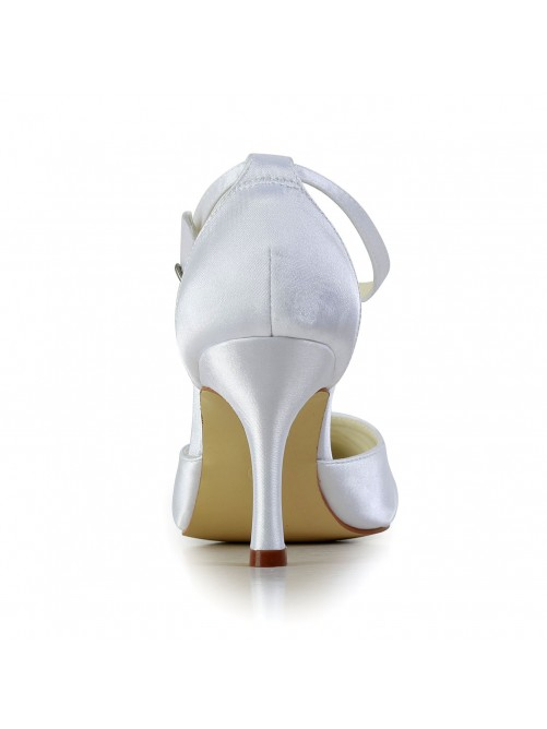 Satin Stiletto Heel Closed Toe Platform Pumps Wedding Shoes With Rhinestone Buckle