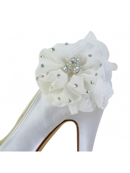 Satin Stiletto Heel Closed Toe Platform Pumps Wedding Shoes With Rhinestone Satin Flower