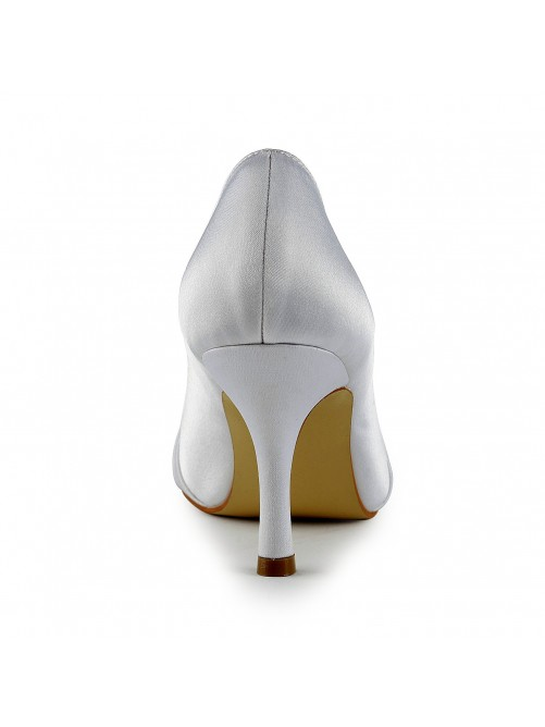 Satin Stiletto Heel Closed Toe Pumps Wedding Shoes With Bowknot Ruched