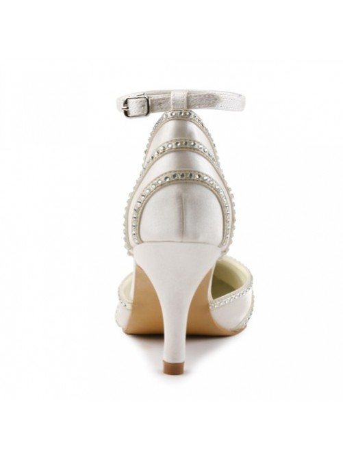 Satin Stiletto Heel Closed Toe Pumps Wedding Shoes With Buckle Rhinestone