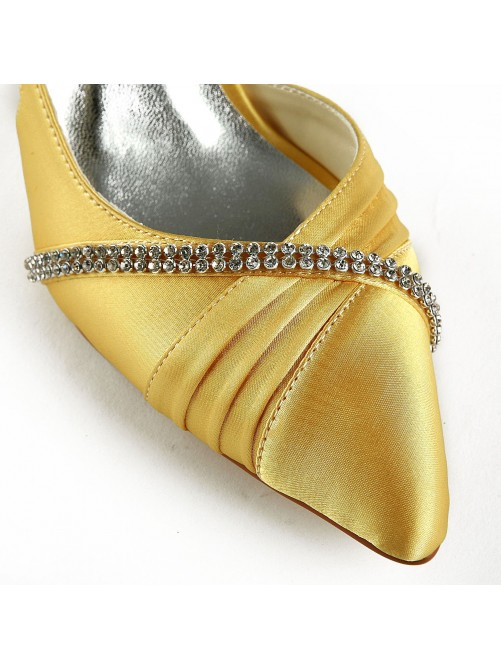 Satin Stiletto Heel Closed Toe Pumps Wedding Shoes With Rhinestone Ruched