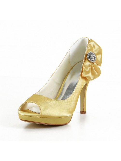 Satin Stiletto Heel Peep Toe Platform Pumps Sandals Wedding Shoes With Bowknot Rhinestone