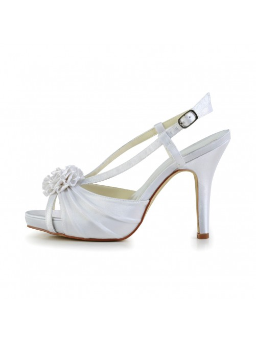 Satin Stiletto Heel Peep Toe Platform Slingbacks Pumps Sandals Wedding Shoes With Buckle Satin Flower Ruffles