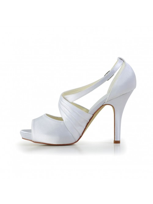 Satin Stiletto Heel Peep Toe With Buckle Shoes