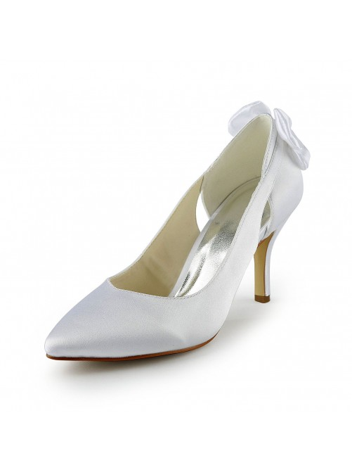 Satin Stiletto Heel Pumps With Hollow-out Wedding Shoes