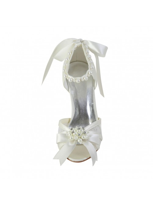 Satin Stiletto Heel Sandals Shoes With Imitation Pearl