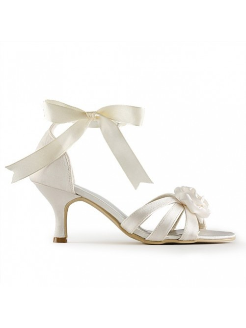 Satin Stiletto Heel Sandals Wedding Shoes With Satin Flower