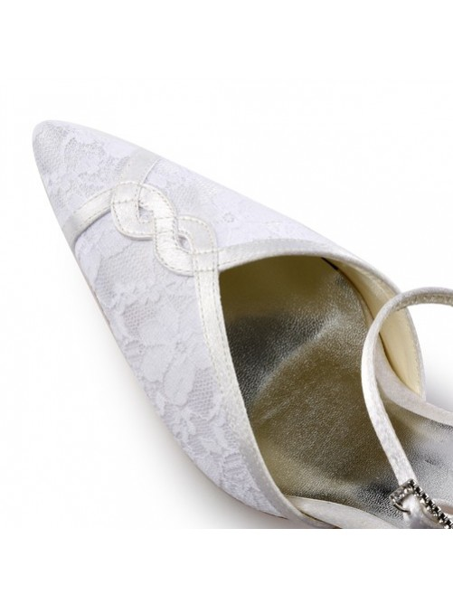 Satin Stiletto Sandals With Stitching Lace For Wedding
