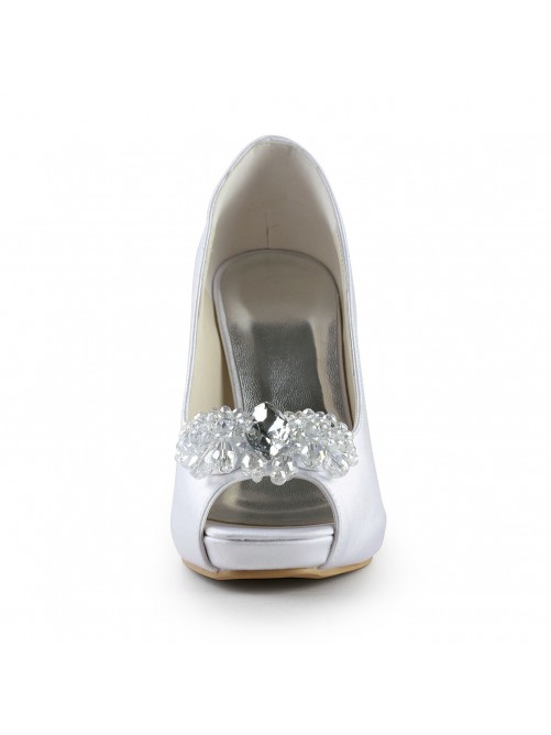 Satin Upper Stiletto Heel Peep Toe Pumps with Rhinestone Wedding Shoes