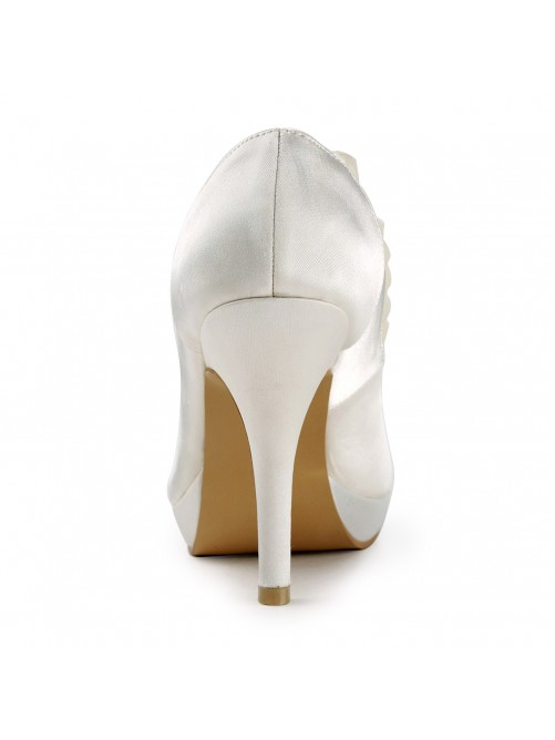 Satin Upper Stiletto Heel Pumps with Ruffles Wedding Shoes