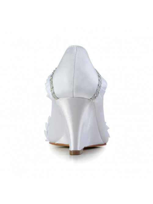 Satin Wedge Heel Wedges Closed Toe Shoes