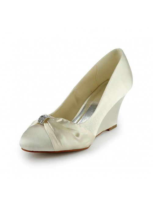 Satin Wedge Heel Wedges With Rhinestone Wedding Shoes