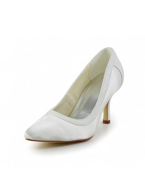 Simple Satin Stiletto Heel Closed Toe Shoes