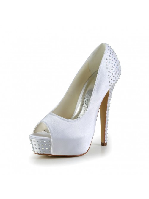 Simple Satin Stiletto Heel Peep Toe Platform Sandals Wedding Shoes With Rhinestone