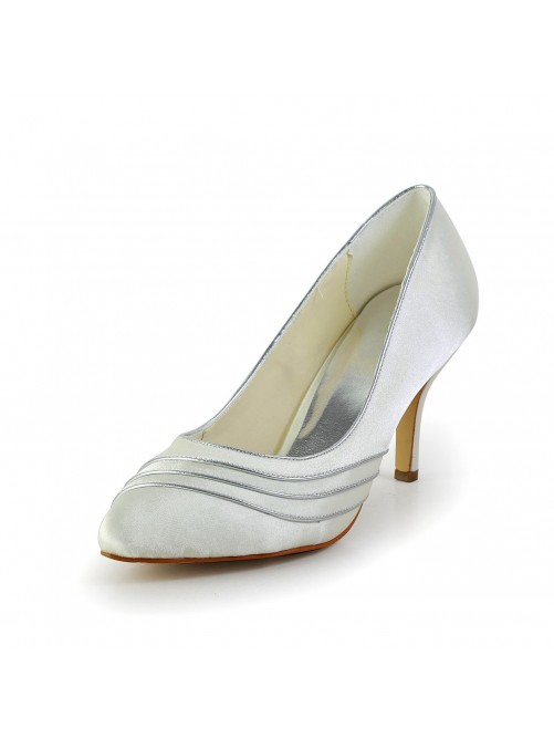 Simple Satin Stiletto Heel Pumps Wedding Shoes