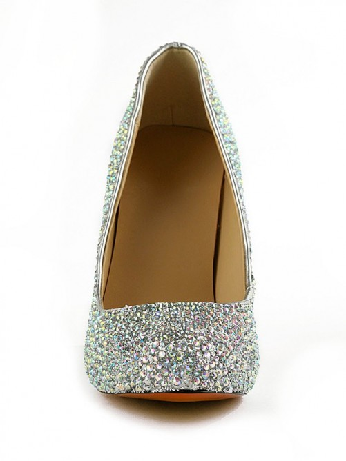 Nice Rubber Rhinestones Leatherette High Heels