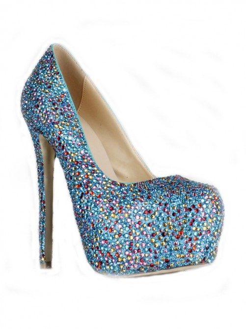 Rhinestones Sheepskin High Heels