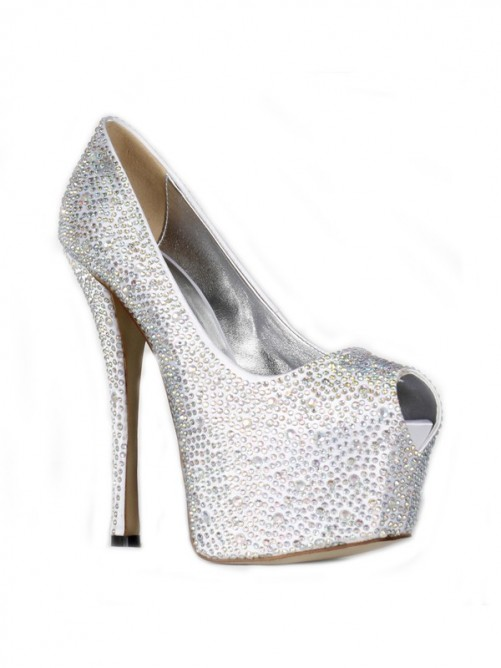 Satin Peep Toe Rhinestones High Heels