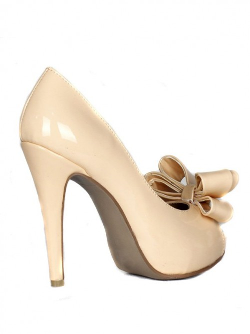 Patent Leather Bowknot High Heels