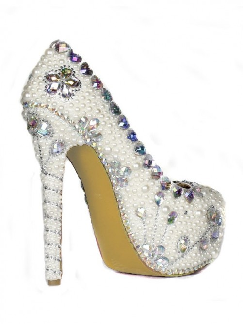 Pearls Rhinestones High Heels