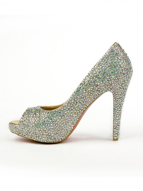 Rhinestones Peep Toe Sheepskin High Heels