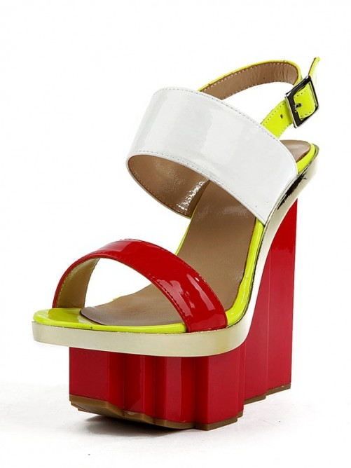 Patent Leather Wedges Sandals