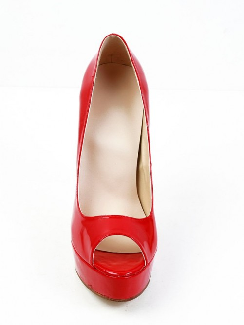 Patent Leather Peep Toe High Heels
