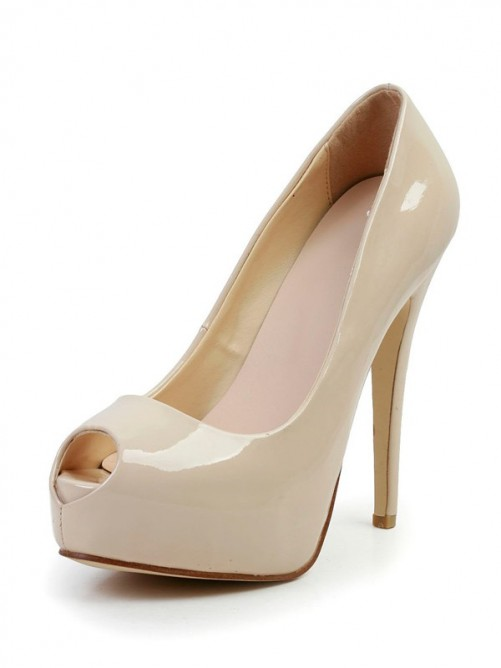 Nice Patent Leather Peep Toe High Heels