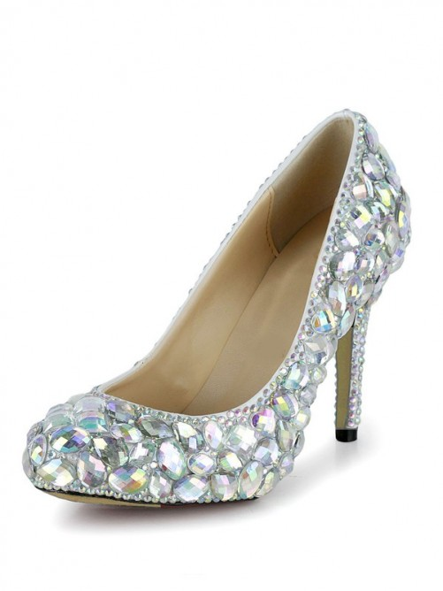 Elegant Rhinestones Patent Leather High Heels