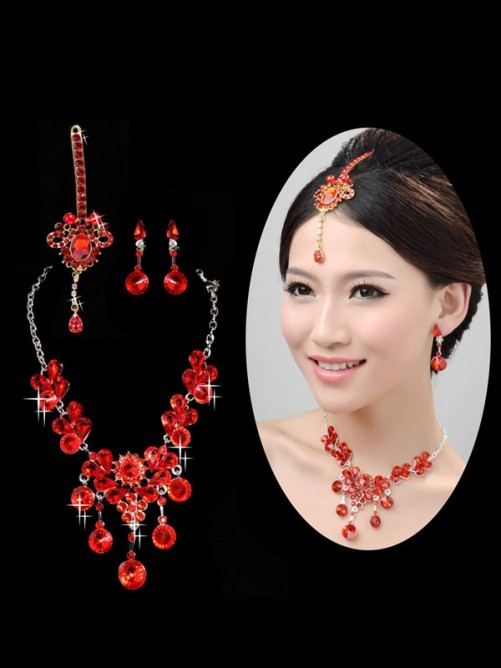 Stunning Pearls Alloy Wedding Headpieces Necklaces Earrings Set