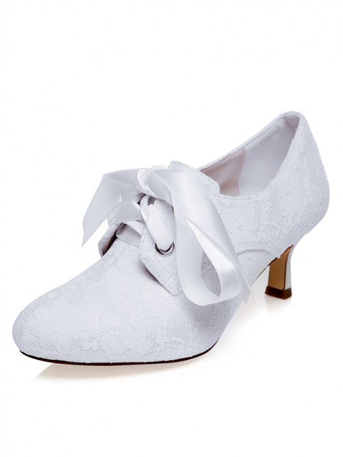 Women's Satin Closed Toe With Silk Spool Heel Wedding Shoes