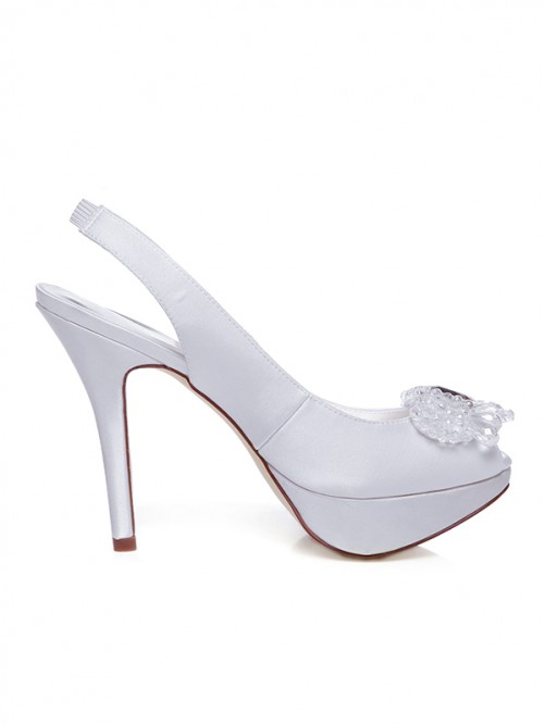 Women's Satin Peep Toe Stiletto Heel With Rhinestones Wedding Shoes