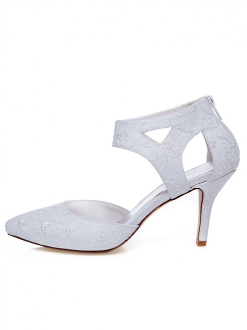 Women's Satin Closed Toe Spool Heel With Zipper Wedding Shoes