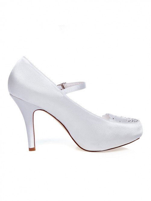 Women's Satin Closed Toe With Buckle Stiletto Heel Wedding Shoes