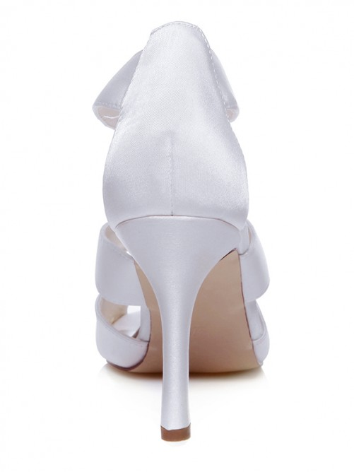 Women's Satin Peep Toe With Zipper Stiletto Heel Wedding Shoes