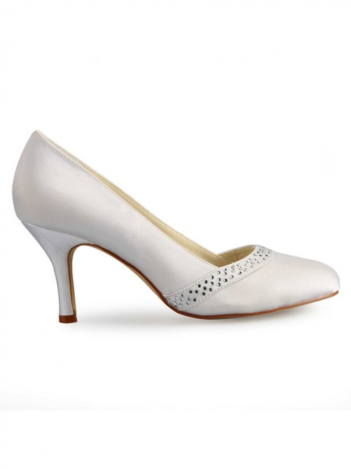 White Fashion Rubber and Satin Party Shoes