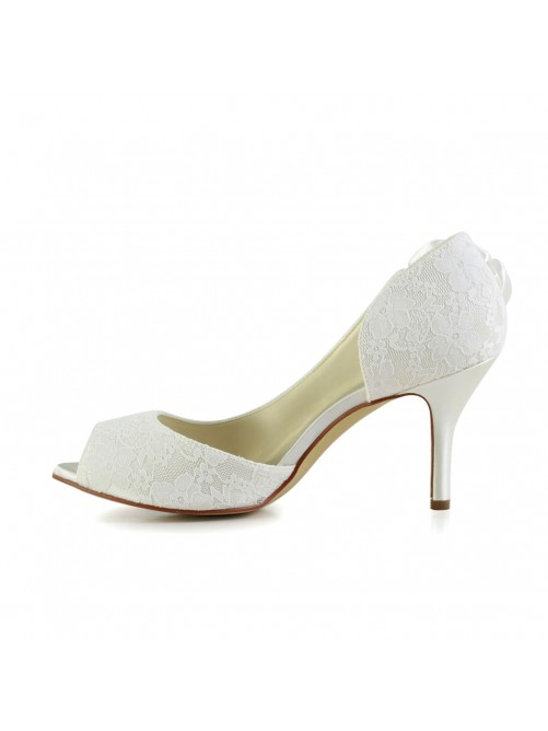 Trendy Stiletto Heel Satin Wedding Shoes With Flower