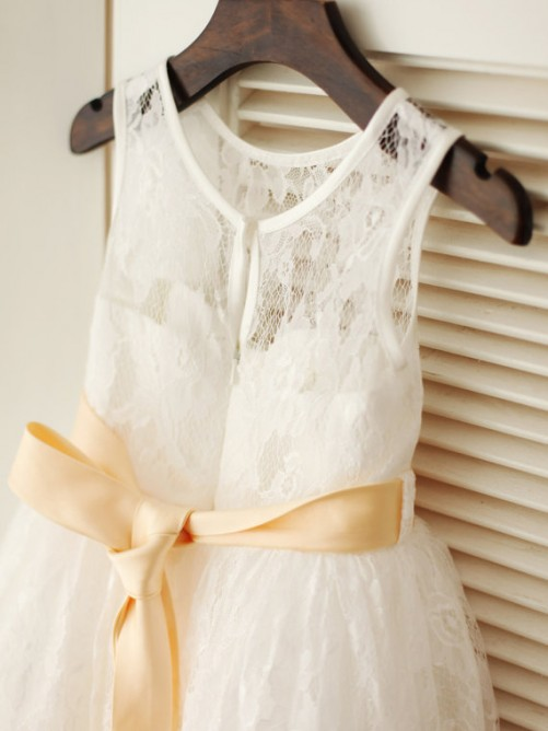A-line/Princess Scoop Sleeveless Sash/Ribbon/Belt Ankle-length Lace Dresses