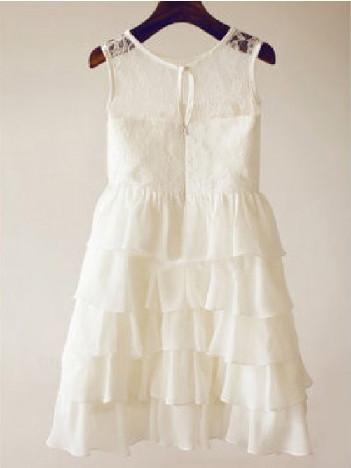 A-line/Princess Scoop Sleeveless Lace Tea-length Chiffon Dresses