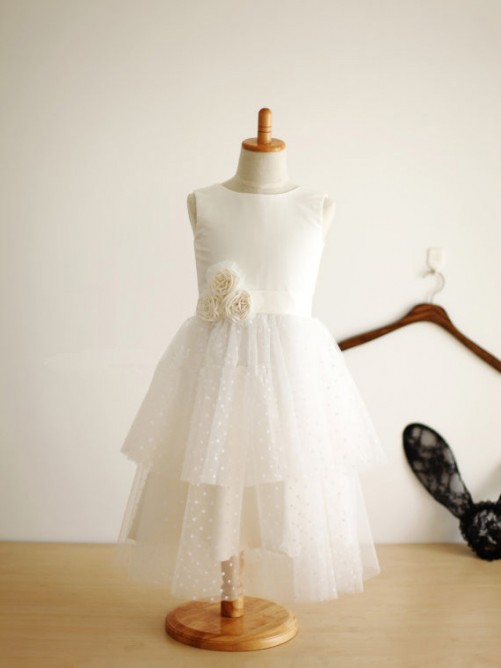 A-line/Princess Jewel Sleeveless Hand-Made Flower Tea-length Tulle Dresses
