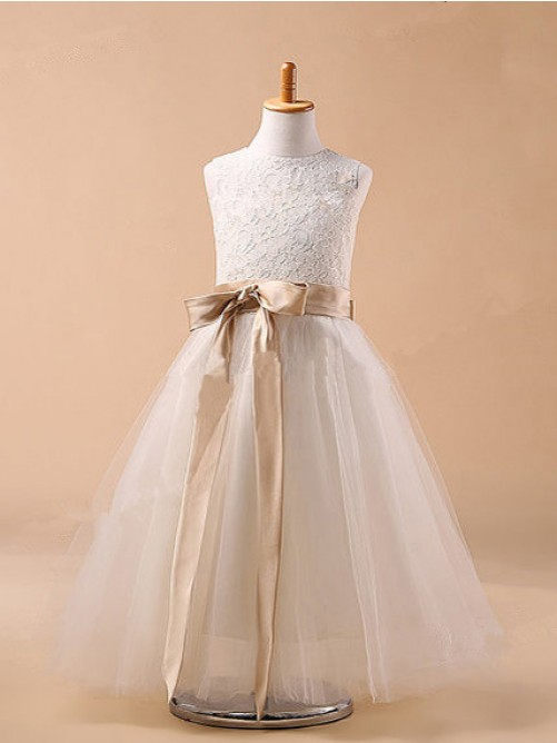 Ball Gown Jewel Sleeveless Bowknot Tea-Length Tulle Dresses