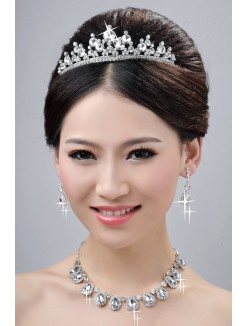 Hot Sale Alloy Clear Crystals Wedding Headpieces Necklaces Earrings Set