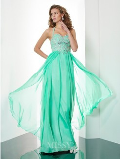 A-Line Halter Floor-Length Sleeveless Chiffon Beading Dress