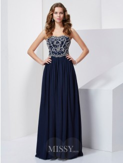 Beading A-Line Sleeveless Floor-Length Strapless Chiffon Dress