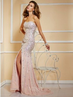 A-Line Sleeveless Strapless Chiffon Floor-Length Beading Dress